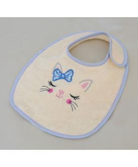 Lot de 2 bavoirs en tissu éponge - motif chat - rose et bleu
