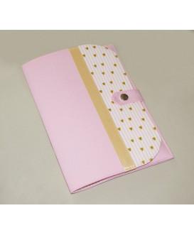 Pochette de rangement pour carnet de santé - petits coeurs roses