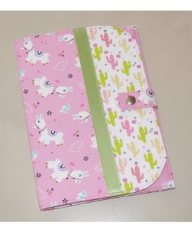 Pochette de rangement pour carnet de santé - lama rose