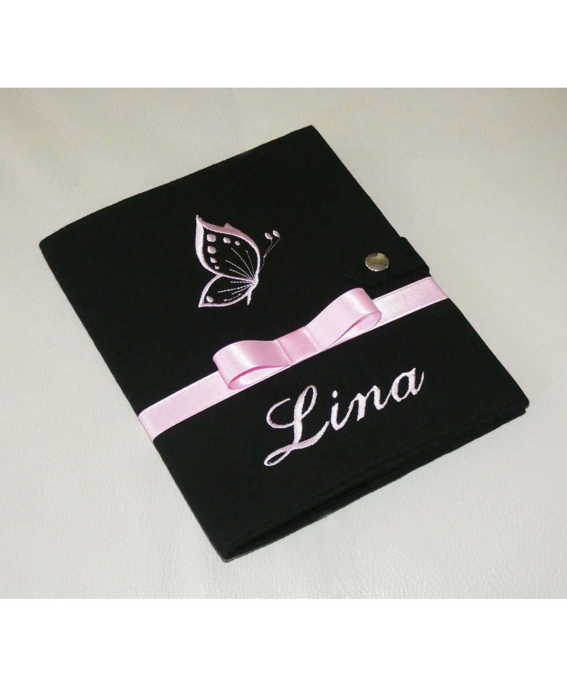 Protège carnet de santé rigide personnalisé noir - papillon rose - Cadeau de naissance fille personnalisé