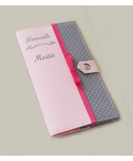 Protège livret de famille rigide - rose et pois gris - personnalisé - Cadeau de naissance personnalisé