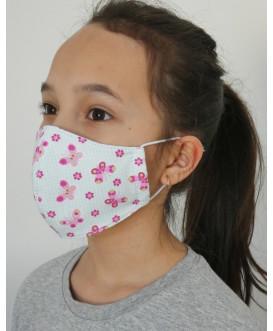 Masque en tissu pour enfant - lavable et réutilisable - papillons