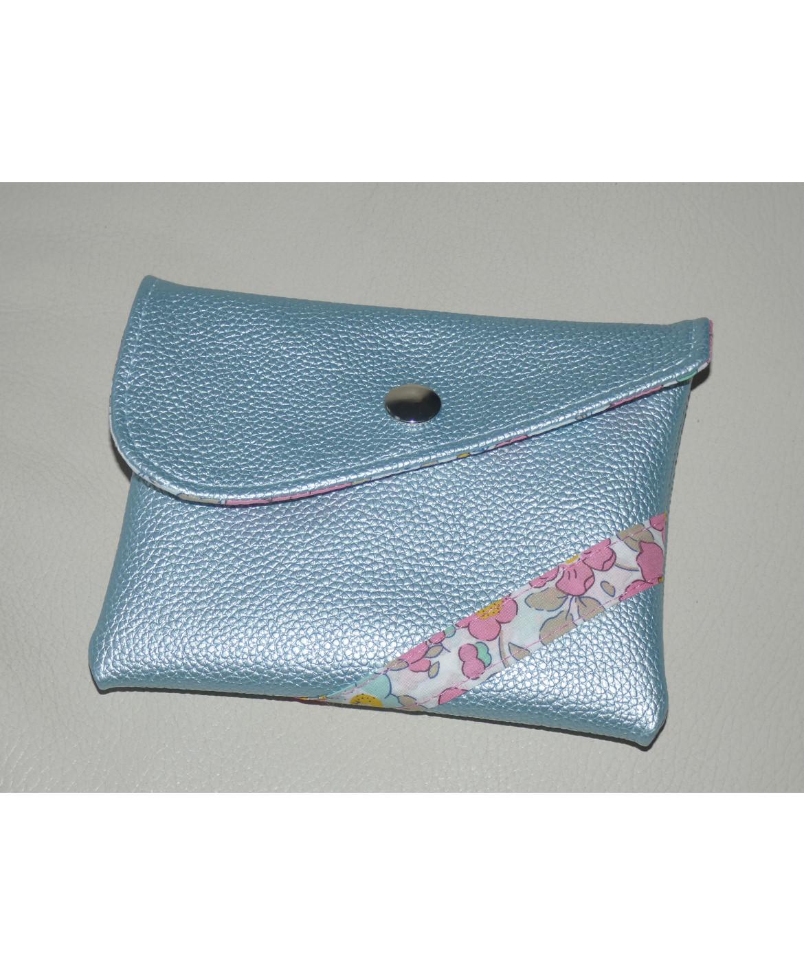 Pochette de rangement en simili cuir bleu pour masques en tissu