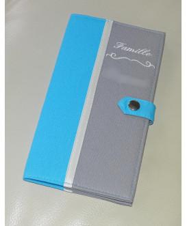 Protège livret de famille rigide gris et bleu turquoise - cadeau de naissance personnalisé